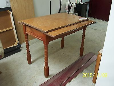vintage metal top table wooden legs frame expandable leaves star sun burst 2tone