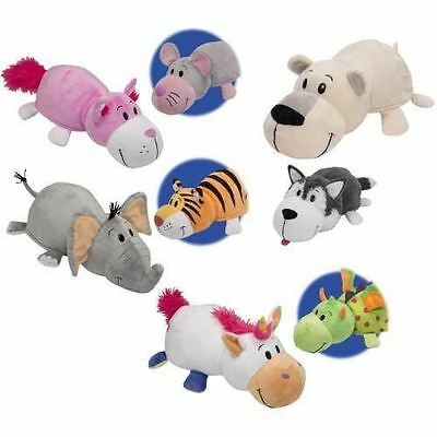 Flip A Zoo Plush Polar Bear & Husky, Dragon & Unicorn, Tiger & Elephant