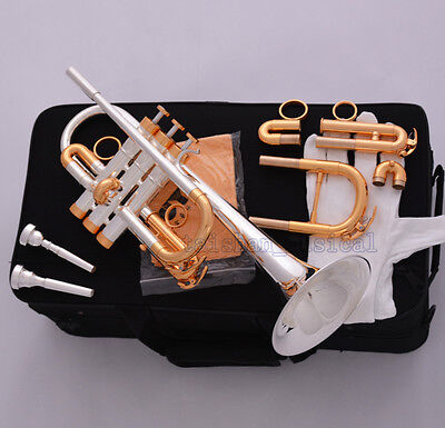 Professional Silver Gold Plated Eb/D Trumpet Horn Monel Valve 7C + 5C Mouthpiece