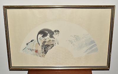 Vtg Chinese or Japanese Original Signed Art Work Ink Watercolor Monkey