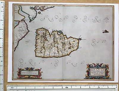 Old Antique 17th Century Historical Map: Isle of Arran, Clyde, Scotland: Reprint