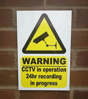 1 x CCTV WARNING Sign 3 - 5mm PVC Plastic Weatherproof Pre Drilled with Screws!