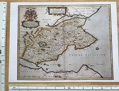 Old Antique 17th Century Historical Colour Map of Fife, Scotland: Reprint: