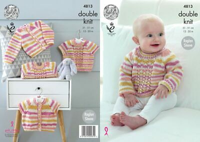 King Cole 4813 Knitting Pattern Baby Cardigans & Sweaters in Candystripe DK