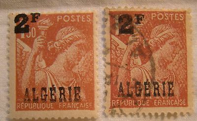 Algeria Stamp 1946 Scott 207 A99  2F Overprint One Unused One Used