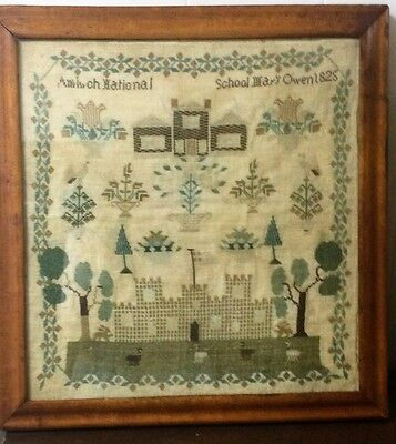Antique Mary Owens 1825 Needlepoint Sampler- The Amlwch National School, Wales