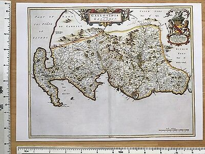 Old Antique 17th Century Historical Colour Map of Galloway, Scotland: Reprint: