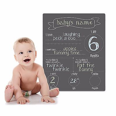 Pearhead Photo Background Chalkboard Baby Preprinted Stats Reusable 22 In H New
