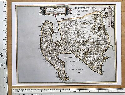 Old Antique 17th Century Historical Map of Wigtownshire, Scotland: Reprint