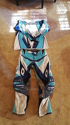 oneal airwear mx off road riding gear blue white pants jersey 34 lg.