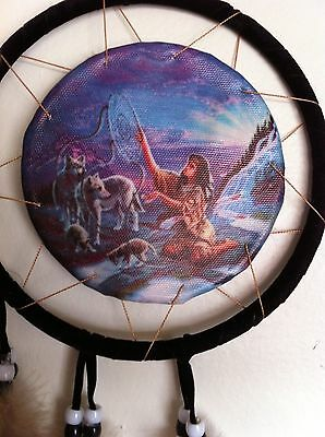 "Cherokee 21"" Dream Catcher, Indian Miaden w/ Wolves Printed on Canvas, Black/Tan"