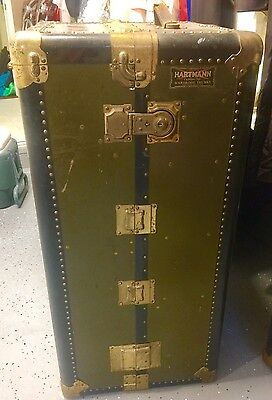 Vintage Wardrobe Steamer Travel Chest RARE Beauty with Key HARTMAN