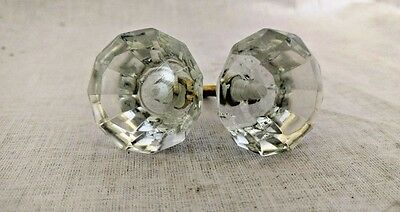Vintage Door Knobs Pair Cabinet Puller Antique Style Crystal Cut Cupboard Nobs