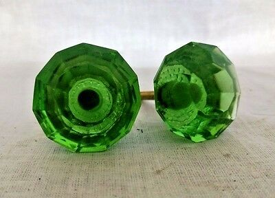 Vintage Door / Cabinet Knobs Pair Puller Antique Style Crystal Cut Green Nobs