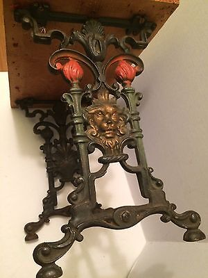 Art Nouveau Antique Cast Iron Vanity Bench Foot Stool Piano Seat Gargoyles Old!