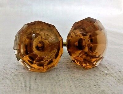 Vintage Door / Cabinet Knobs Pair Puller Antique Style Crystal Cut Amber Nobs