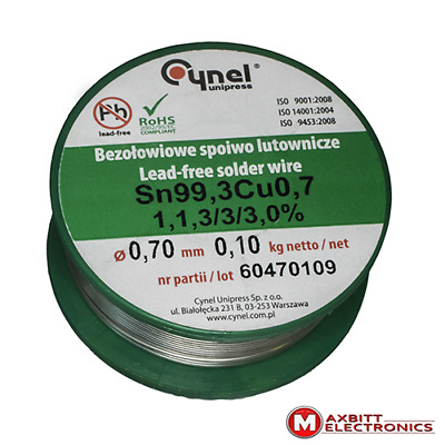100g 0.70mm Quality Solder Wire Lead-free SN99Cu1 3% Flux Multicored CYNEL