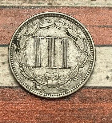 1868 3C Three Cent Nickel Piece Vintage US Copper Coin #OT51