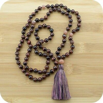 Hand Knotted Red Tigers Eye Yoga Japa Mala Beads Necklace with Peach Moonstone