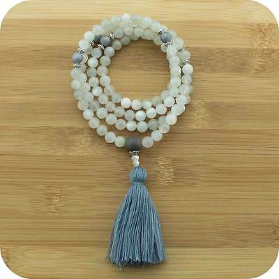 Moonstone Mala Beads Necklace with Matte Gray Druzzy Agate
