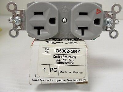 New Pass & Seymour IG5362 Receptacle 20A 125V Isolated Ground, Gray.