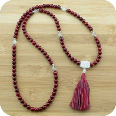 Red Bamboo Coral Mala Beads Necklace with Ice Quartz Crystal