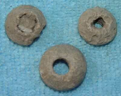 ANCIENT LOT OF 3 VIKING LEAD SPINDLE WHORL 9th CENTURY AD Ref.20