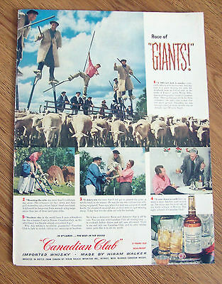 1954 Canadian Club Whiskey Ad Race of Giants Echassiers in the South of France