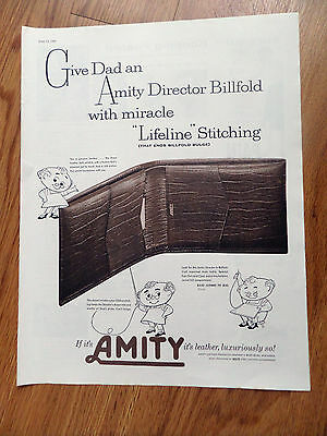 1960 Amity Leather Director Billfold with Miracle Lifeline Stitching Ad