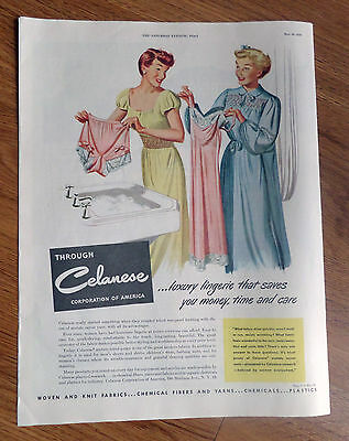 1950 Celanese Accetate Rayon Yarn Ad Luxury Lingerie