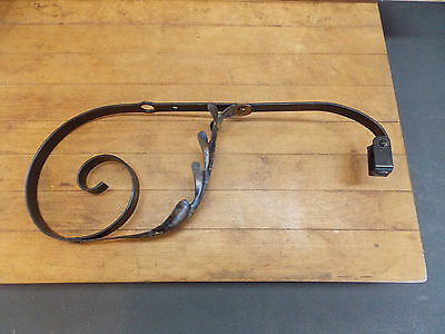 Antique wrought iron floor lamp adjustable bridge arm part leaf design