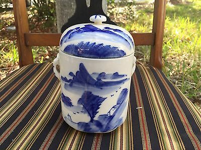 Rare Antique Blue & White Porcelain Chinese Unique Covered Jar Unmarked