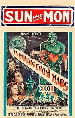 Invaders from Mars  1953  Window Card   on card stock  VF-  14 x 20