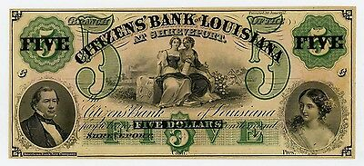 1800's $5 The Citizens' Bank of LOUISIANA at Shreveport Note UNC