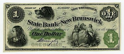 1800's $1 The State Bank at New Brunswick, NEW JERSEY Note CU