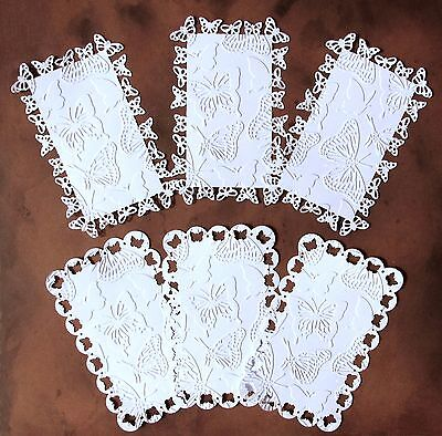 "WHITE EMBOSSED TOPPERS X 6 BUTTERFLIES FOR 6"" x 4"" CARDS – DAINTY & PRETTY"
