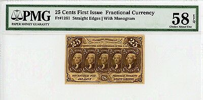 1st Issue Fr.1281 25c United States Fractional Currency - PMG Ch.AU 58 EPQ