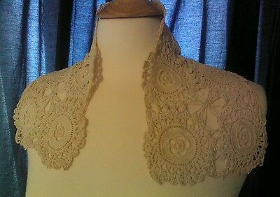 Antique Tatting Crochet Ecru Irish Linen Lace High Collar Intricate Design Scarf