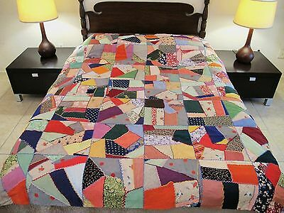 Vintage Satin CRAZY QUILT w/ Feather Stitching & Nice Fabrics, Beautiful Backing