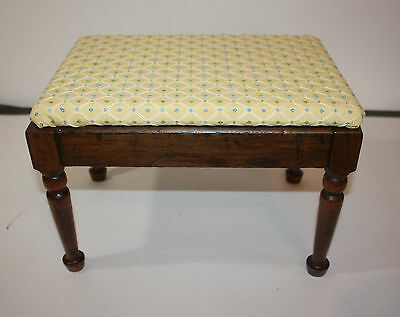 "Vintage Wood Footstool Yellow Print Seat 14"" x 10"" x 9.5""H"