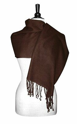 Biagio 100% Wool Pashmina Solid Scarf Chocolate Brown Color Women's Shawl Wrap
