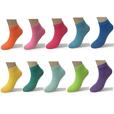 Lot 12 Pairs Dozen Candy Color Fashion Low Cut Casual Ankle Socks Size 9-11 New