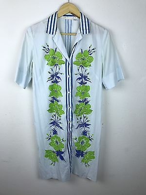 Vintage 1960s Alfred Shaheed Floral Cotton Dress Blue Green Distressed M L