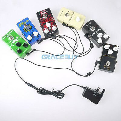 9V Boss JOYO Guitar Effect Pedal Power Supply Adapter 6 Way Daisy Chain Cables