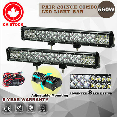 2X 20inch 560W LED Light Bar Flood Spot Combo Work Driving Lamp Philips Lumileds