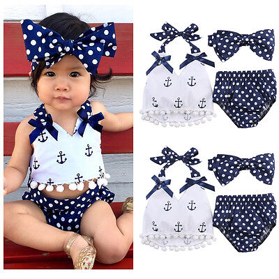 Kids Baby Girls Anchors Tops+Polka Dot Briefs Shorts 3pcs Outfits Set US Stock