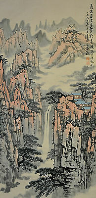 Vintage Chinese Landscape Wall Hanging Scroll Painting