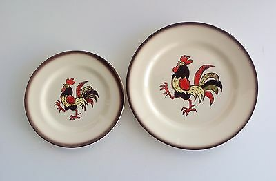 "Pair of Metlox poppy trail rooster plates, California pottery, 10"" and 7.5"", MCM"
