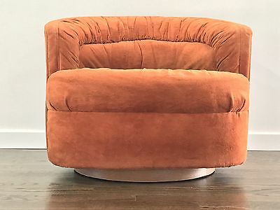 Mid Century Modern Milo Baughman Style Swivel Barrel Lounge Chair