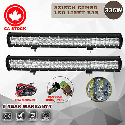 Pair 5D 23Inch Osram 336w Led Light Bar Spot Flood Offroad Driving 4wd Lamp